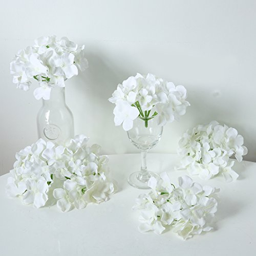 Veryhome Blooming Silk Hydrangea Flower Heads for DIY Bouquets,Wedding Centerpieces,Home Decor (white),12pcs (For Corsages Silk Flowers)