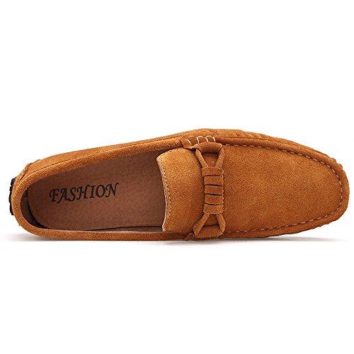 Krimus Mens Classic Mocassini In Pelle Scamosciata Mocassini Casual Slip On Driving Shoes ... Giallo