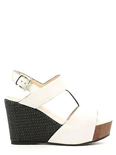Sandalo a T su zeppa Cafè Noir art.HG182 Bianco Fz04Mtg