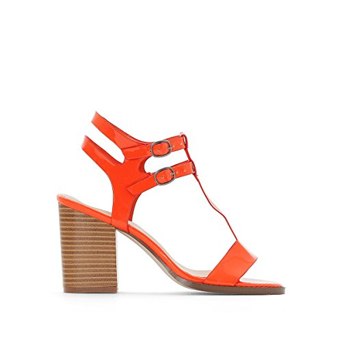 La Redoute Collections Womens Patent Sandals Orange