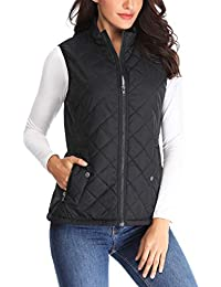 Women Lightweight Quilted Padded Vest Stand Collar Zip Up Front Gilet Quilted
