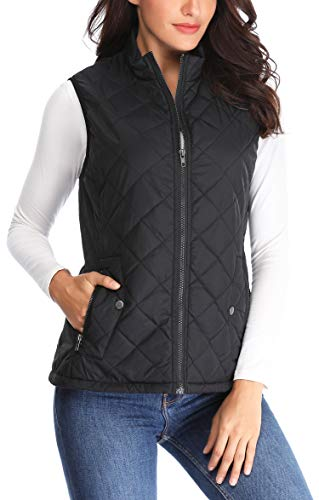 MISS MOLY Women Lightweight Quilted Padded Vest Stand Collar Zip Up Front Gilet Quilted,Black,Medium ()