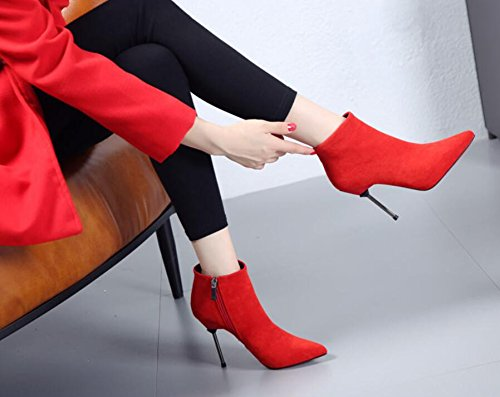 Short And New High Bare And 39 Women The Simple Boots By Heeled HGTYU Velvet Boots Winter Boots Tip Boots Down Martin Autumn Broken Red Boots Ankle XYTqP