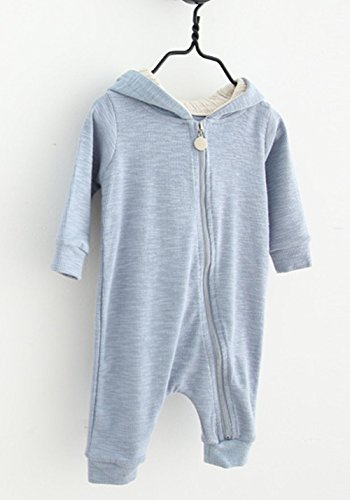 BANGELY Winter Warm Baby Boys Girls Rabbit 3D Ear Zipper Hooded Romper Jumpsuit Outfits Size 12-18Months/80 (Blue)