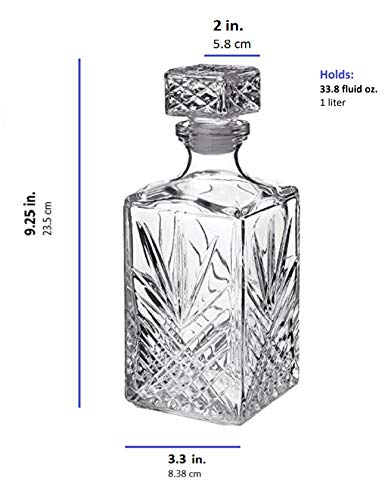 Italian Made Glass Whiskey Decanter – For Liquor, Brandy, Vodka and Scotch | with Sophisticated Diamond Design | 33.75oz with Airtight Stopper | Packaged in an Exquisite Gift Box by James Scott (Image #1)