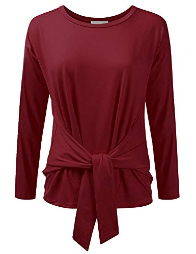 FISOUL Womens Tops Loose Fit Long Sleeve Round Neck Casual Blouse Tie Front (Tie Neck Peasant Top)