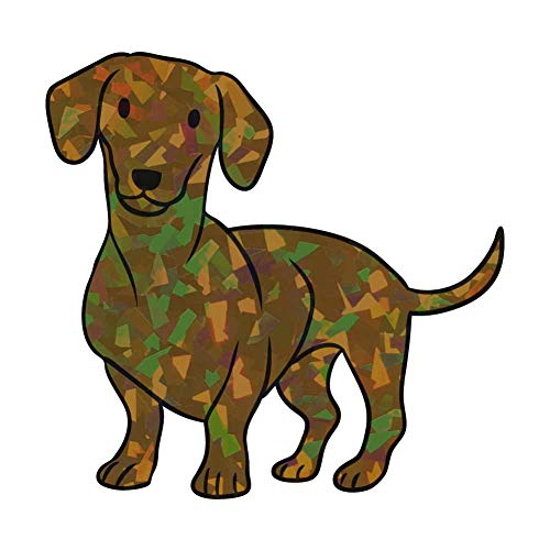 Dark Spark Decals Dachshund, Wiener Dog - 5 Inch Full Color Retro Holographic Vinyl Decal for Indoor or Outdoor use, Cars, Laptops, Décor, Windows, and More