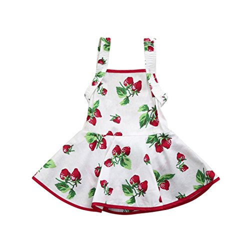 Goodtrade8 Toddler Baby Girl Sleeveless Strawberry Print Romper Princess Tutu Dresses Outfit Clothes (3T(2-3 Years), White)