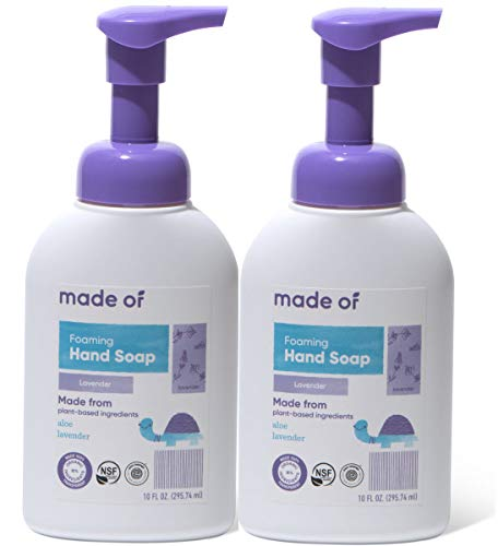 MADE OF Hand Soap Organic Foaming - EWG Verified & Rated 1 - Dermatologist and Pediatrician Tested for Sensitive Skin and Eczema - Made in USA - 10oz (Lavender, 2-Pack)