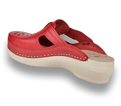 en Sabots Mules Femme Dames Cuir LEON Rouge Chaussures PU156 Chaussons qHcXA