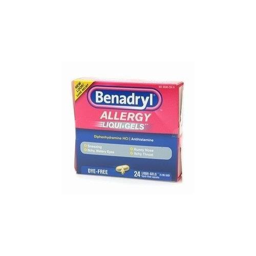 - Benadryl Dye-Free Allergy Relief LiquiGels -- 24 Liquid Gel Capsules - Buy Packs and SAVE (Pack of 2)