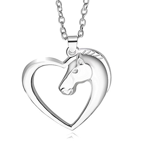 Mother Horse Head Open Heart Pendant Necklace White Gold Plated for Girls Christmas Valentines