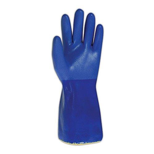 Sperian KV660-08 SHOWA Atlas KV660 Kevlar Knit Gloves with Full PVC Coating, Cut Level 3, Size 8, Blue (Pack of 12) by Sperian (Image #2)