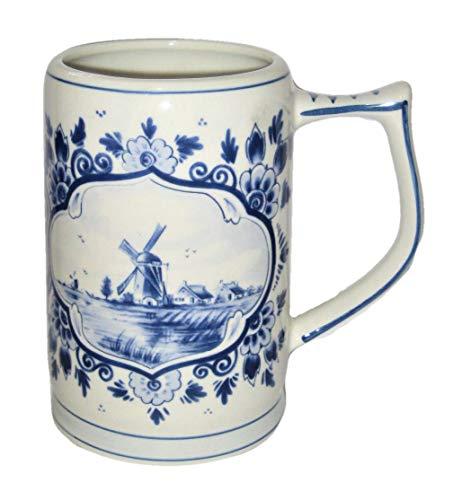 Vintage Delft Blue Holland Windmill & Floral Scene 5 1/4 Inches Porcelain Tankard Mug