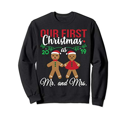 Our First Christmas As Mr And Mrs 2019 Christmas Couple Sweatshirt (Jumper 2019 Christmas)