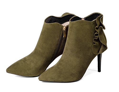 Martin Boots Stiletto Zip Green Side Army Heel Women's Pointed Toe Booties Honeystore Ruched Leather v161a8