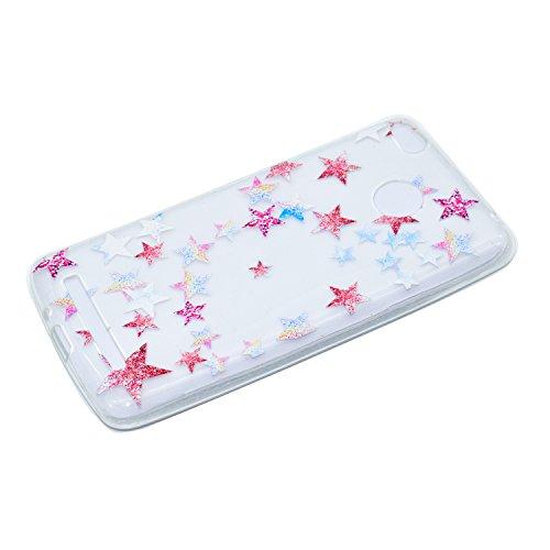 Ecoway TPU Funda Funda para Xiaomi Redmi 4X, Ultra Delgado Carcasa Antideslizante Suave Parachoques Resistente a los arañazos Contraportada Funda de silicona transparente transparente Parachoques Carc Estrella de cinco puntas