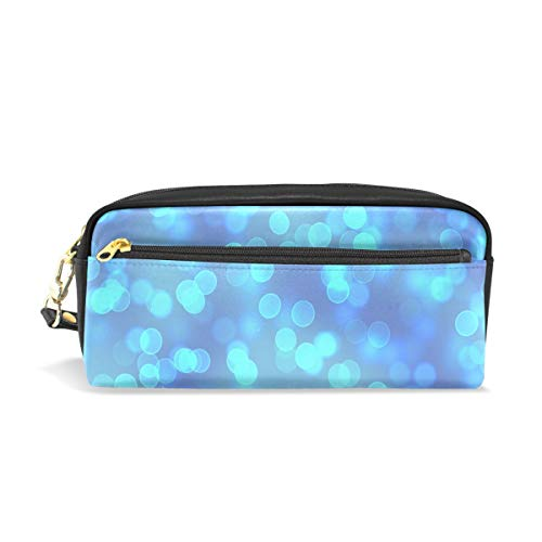 Pencil Case Stylish Print Blur Bokeh Out of Focus Blue White Art Pattern Large Capacity Pen Bag Makeup Pouch Durable Students Stationery Two Pockets with Double Zipper