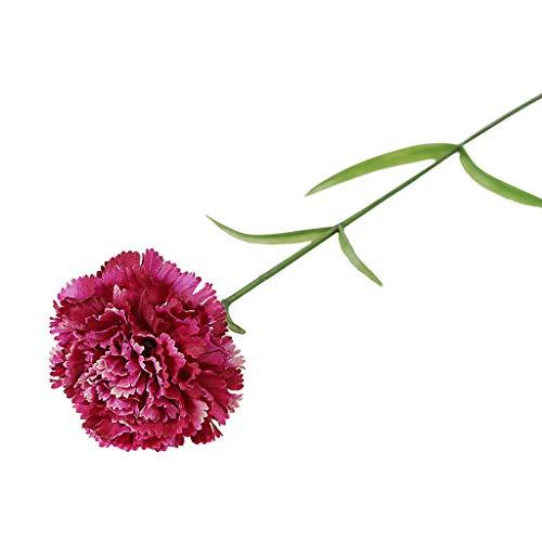 Fine Artificial Carnation Rose Red Edges Silk