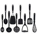 9 Pieces Cooking Utensils Non Stick Non Scratch Kitchen Utensils Set Black