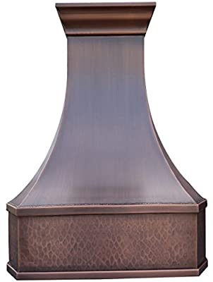 Copper Best H3 302142LS Copper Stove Vent Hood 30 inch Wall Mount with 660CFM Powerful Range Hood Inserts