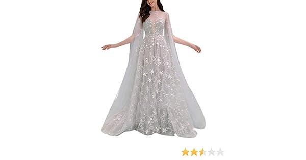 MRULIC - Vestido de Dama de Honor con Estampado de Encaje y Fruncido para Fiesta de graduación Dorado Blanco 36 ES: Amazon.es: Ropa y accesorios