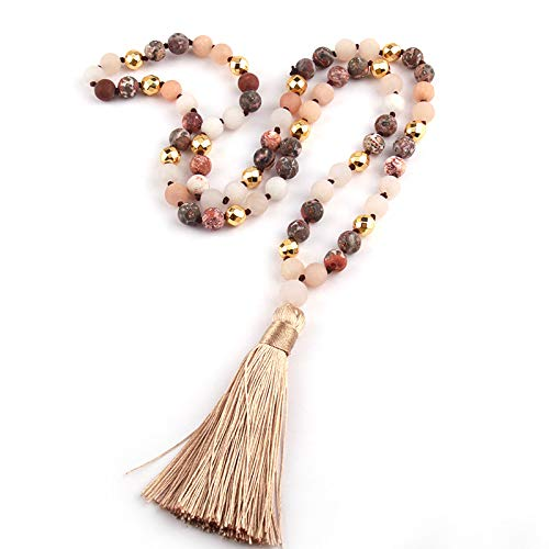 (Fashion Natural Stone Leopard Stripe Beads Knotted Gold Magnetic Long Tassel Necklace)