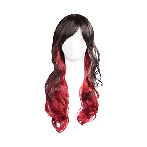 WIG-023 Synthetic Long Ombre Black and Red Wig (Red And Black Wigs)