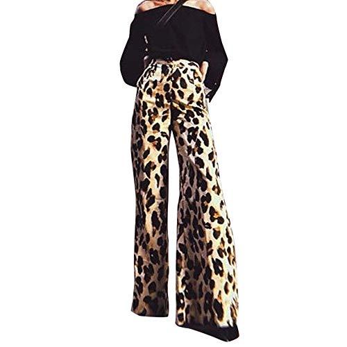 Creazrise Womens Sexy Leopard Print Long Pants Elastic Waist Wide Leg Vintage Boho Palazzo Pants Gold