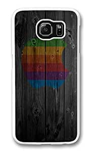 Samsung Galaxy S6 Case, Galaxy S6 Cover - Rugged Plastic Wood Apple Rainbow White Hard Shell Snap on Bumper Case Cover for Samsung Galaxy S6