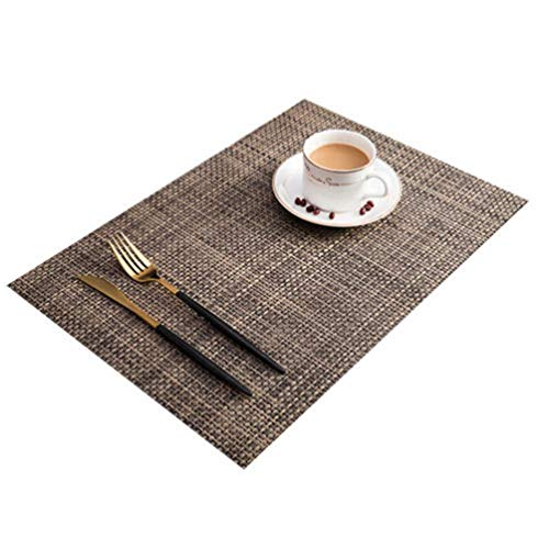 Vinmax Placemats Set of 6 PVC Exquisite Durable Woven Dinning Heat-resistant Table Mats Anti-skid Washable Woven Crossweave Non Slip Heat Insulation Placemat(brown)