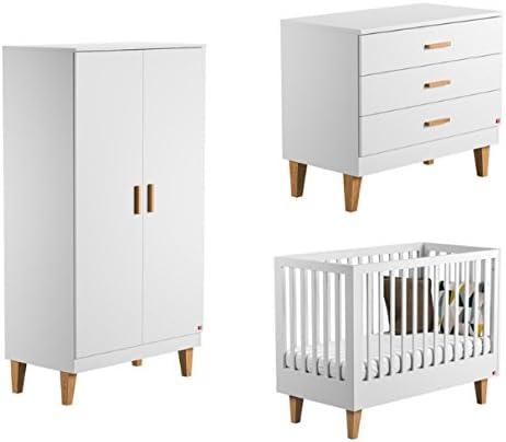 Vox Pack Cuna Blanco 60 x 120 + colchón + cómoda Cambiador 3 cajones + Armario 2 Puertas Collection Lounge: Amazon.es: Hogar