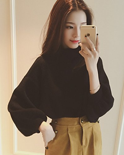 Minetom Mujer Otoño Invierno De Punto Suéter Holgado Manga Casual Tops Semi Alto Collar Pullover Jerséis Negro