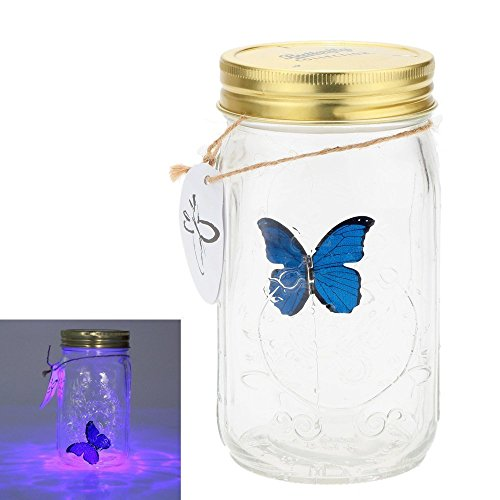 Fangfang LED Lamp Romantic Glass Animated Butterfly Jar Gift Decoration (Blue)