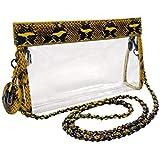 Nu Women Handbags Zoe Python Clear Crossbody Bag, Stadium Event Approved