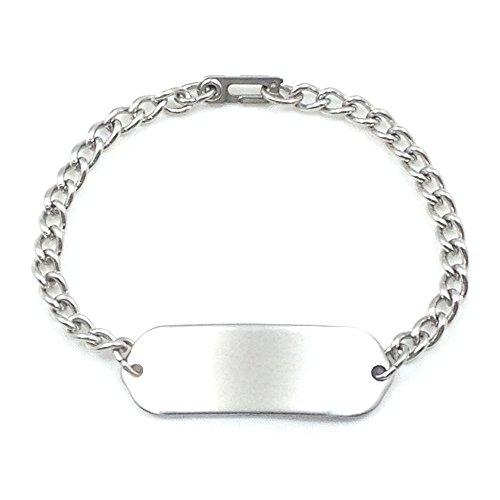 (MakeMeThis Plain Child ID Bracelet IDB-01 - Stainless Steel - Non Allergenic)