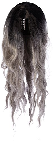 Amback Dye Dark Roots Cosplay Halloween Wig for Women Curly Wave Hair Wigs Cap RF22, Light Grey, Long