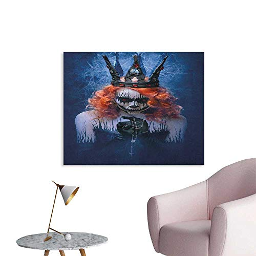 Anzhutwelve Queen Wall Picture Decoration Queen of Death Scary Body Art Halloween Evil Face Bizarre Make Up Zombie The Office Poster Navy Blue Orange Black W48 xL32]()