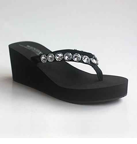 5 Tacón Inferior Pendiente Antideslizante Tamaño Parte Artificial Yingsssq Diamante Eu 7 Gruesa Para 5 Mujer Negro 38 Us Alto Chanclas Zapatillas Uk color wZwP10zq