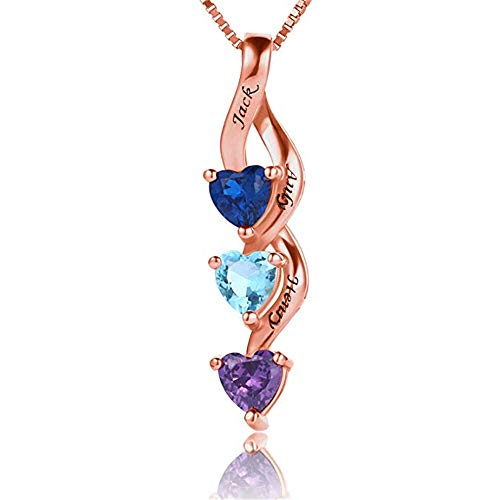 GWLI Element Crystal s925 Sterling Silver Temperament Wild Long Spiral Clavicle Valentine's Day Christmas Halloween (Rose-Gold-Plated-Base)