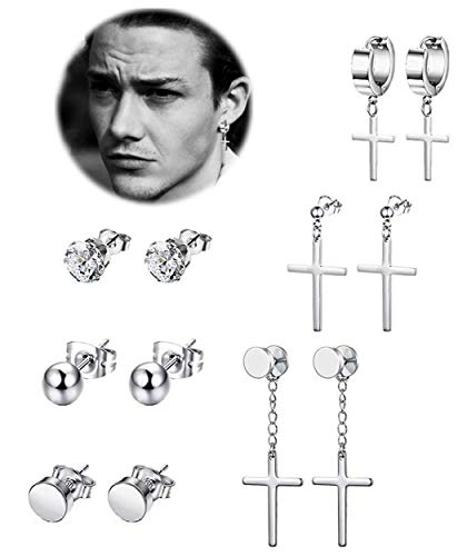 (REVOLIA 6 Pairs Stainless Steel Dangle Cross Stud Earrings for Men Women Hoop Earrings Huggie Vintage Ear Piercing Silver-tone)