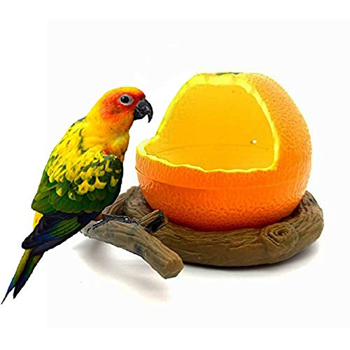 (Pxlucky Birds Feeder Bowl,Bird Food Feeding Bowl Feed Cup for Small Parrots Cockatiels Conure Hamster Small Animal Drinking Water Container for Birds Cage Accessories,Orange)