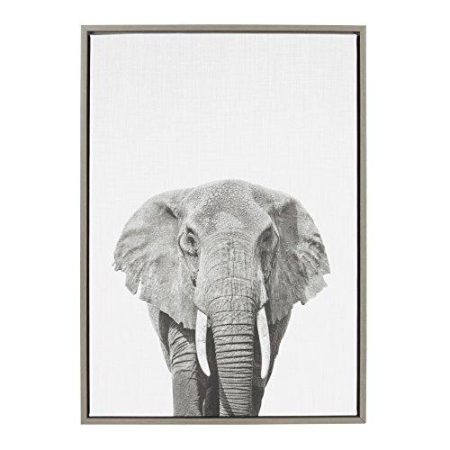 Kate and Laurel Sylvie Elephant Animal Print Black and White Portrait Framed Canvas Wall Art by Simon Te Tai, Gray 23x33