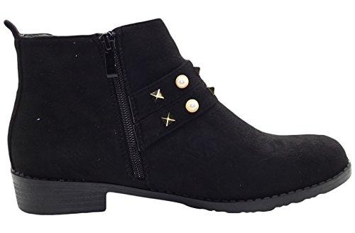 Chelsea Ankle LE18 Black True Face Biker Boots 53 Winter Suede Faux Women Ocatqp