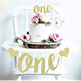 Mini Things 1st First Birthday Decoration Set One High Chair Banner and One Cake Topper (Gold)
