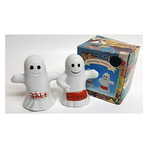 HERMITAGE POTTERY Vintage 1995 Halloween Ghosts Salt & Pepper -