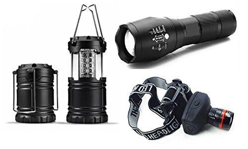 Army Gear Ultimate Tactical LED Bundle With Flashlight, Lantern And Headlamp, Black by Army Gear