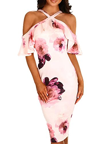 Murimia Womens Summer Cold Shoulder Strap Ruffle Floral Midi (Pink Floral Summer Dress)