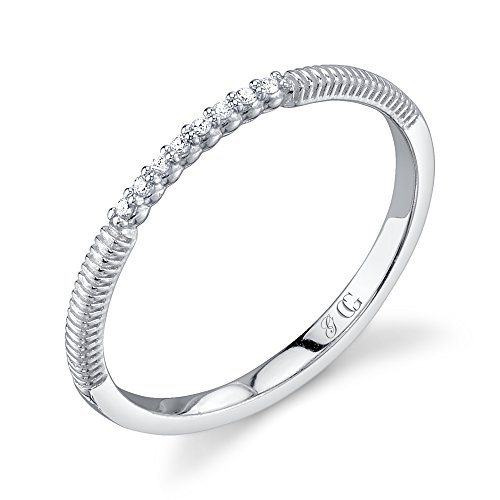 CHARLIZE GADBOIS Sterling Silver Diamond Ring White Rhodium (0.04 cttw, I1-I2 Clarity), Size 6 by Gadbois Jewelry