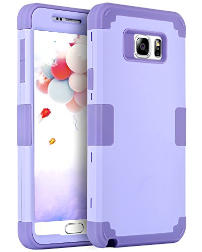 Galaxy Note 5 Case, BENTOBEN Samsung Galaxy Note 5 Case 3-in-1 Hybrid Shockproof Anti Scratch Polycarbonate Hard Covers for Upper and Bottom Soft Silicone for Interior Cover, Purple (Samsung Galaxy Note 5 Best Price)